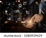 mobile banking network.... | Shutterstock . vector #1080929429