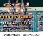 aerial shot of the container... | Shutterstock . vector #1080930650