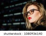 portrait of a girl in glasses.... | Shutterstock . vector #1080936140