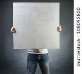 male holds a square canvas... | Shutterstock . vector #108093800
