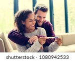 happy couple with pregnancy news | Shutterstock . vector #1080942533