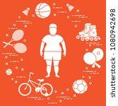 fat boy  badminton rackets and... | Shutterstock .eps vector #1080942698