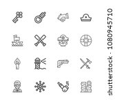 premium set of simple icons in... | Shutterstock .eps vector #1080945710