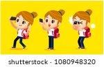 vector set of female traveler...   Shutterstock .eps vector #1080948320