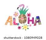 tropical  flowers  background....   Shutterstock .eps vector #1080949028