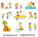 flat vector set of little kids... | Shutterstock .eps vector #1080949319