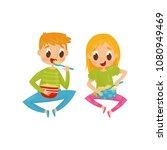 cheerful little kids sitting on ... | Shutterstock .eps vector #1080949469