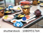 japanese morning food set ... | Shutterstock . vector #1080951764