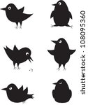 set of cartoon birds icons for ...