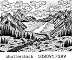 wilderness landscape scene with ... | Shutterstock .eps vector #1080957389