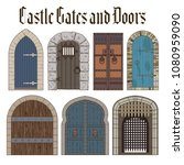 vector set of castle gates and... | Shutterstock .eps vector #1080959090
