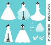 a set of wedding dresses.... | Shutterstock .eps vector #1080961409