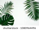 green flat lay tropical palm... | Shutterstock . vector #1080964496