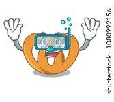 diving pretzel character... | Shutterstock .eps vector #1080992156
