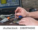 broken cell phone repair.... | Shutterstock . vector #1080994040