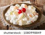 fruit salad from pineapple ...   Shutterstock . vector #1080998849