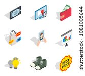 purchase of clothes icons set....   Shutterstock .eps vector #1081005644