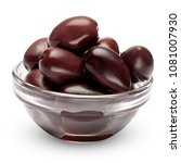 black olives isolated in glass...   Shutterstock . vector #1081007930