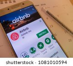 Small photo of Tokyo,Japan. April 28, 2018: airbnb application on smartphone screen. airbnb app is for people to rent short- term lodging.