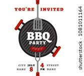 bbq party background with grill.... | Shutterstock .eps vector #1081011164