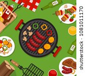 bbq party background with grill.... | Shutterstock .eps vector #1081011170