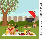 bbq party background with grill.... | Shutterstock .eps vector #1081011173