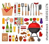 bbq tools set. barbecue grill ... | Shutterstock .eps vector #1081011176