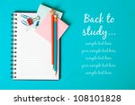 Notebook on the blue with copy space - stock photo