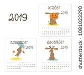 calendar 2019 with brown dog... | Shutterstock .eps vector #1081023290