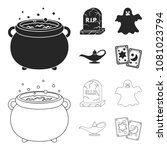 a witch cauldron  a tombstone ... | Shutterstock .eps vector #1081023794