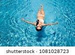 sexy swimming lady with bikini... | Shutterstock . vector #1081028723