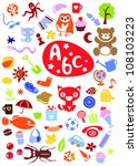 different cute colorful ... | Shutterstock . vector #108103223