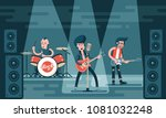 concert of rock band on stage....   Shutterstock .eps vector #1081032248