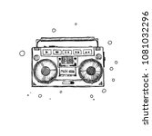 retro record player. doodle... | Shutterstock .eps vector #1081032296