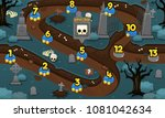 scary graveyard halloween  game ... | Shutterstock .eps vector #1081042634
