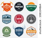 Set of mountain adventure and expedition logo badges | Shutterstock vector #108104864
