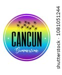 cancun palm tree stamp... | Shutterstock .eps vector #1081051244