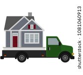 moving day house and truck...   Shutterstock .eps vector #1081060913