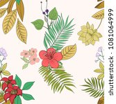 tropical print. palms and... | Shutterstock .eps vector #1081064999