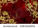 golden arabesque with roses   Shutterstock . vector #1081066856