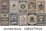 vintage colored barbecue... | Shutterstock .eps vector #1081073426
