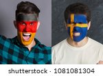 emotional soccer fans with... | Shutterstock . vector #1081081304
