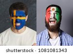 emotional soccer fans with... | Shutterstock . vector #1081081343
