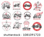 graphic set of transport... | Shutterstock .eps vector #1081091723