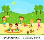 kids are playing on the... | Shutterstock .eps vector #1081095446