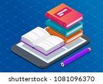 flat 3d isometric e book reader ...   Shutterstock .eps vector #1081096370