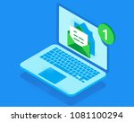 email notification concept. new ... | Shutterstock .eps vector #1081100294