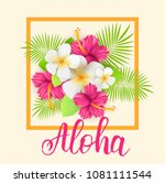 frame background with tropical... | Shutterstock . vector #1081111544