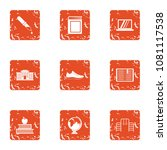 whole school icons set. grunge... | Shutterstock .eps vector #1081117538