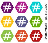 hashtag icons 9 set coloful... | Shutterstock .eps vector #1081119329